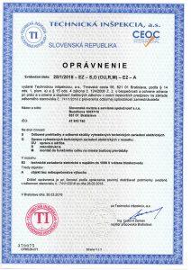 Certifikát - oprávnenie vykonávať elektrické revízie