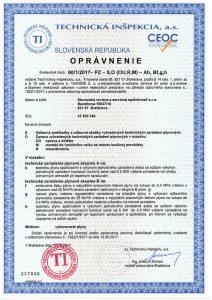 Certifikát - oprávnenie vykonávať plynové revízie