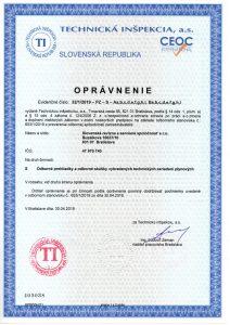 Certifikát - oprávnenie vykonávať revízie plynových zariadení