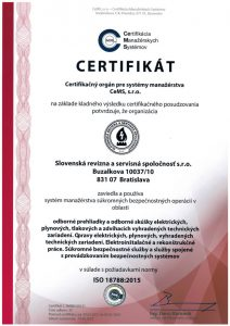 Certifikát - manažment súkromných bezpečnostných operácií - odborné prehliadky a skúšky elektrických zariadení