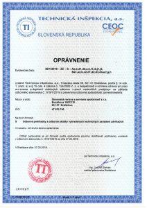 Certifikát - oprávnenie vykonávať revízie zdvíhacích zariadení